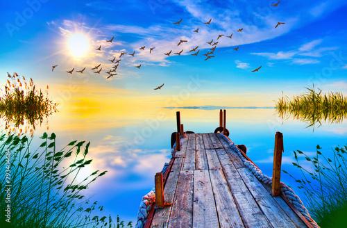 viejo embarcadero en el lago