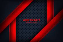 Modern Red Black Background With 3D Overlap Layers Effect. Graphic Design Elements.