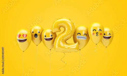 Fototapeta Number 2 yellow birthday emoji faces balloons. 3D Render obraz