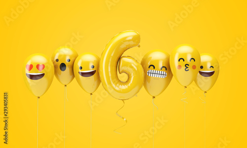 Photo Number 6 yellow birthday emoji faces balloons. 3D Render