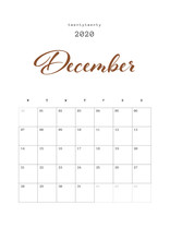 DECEMBER - Calendar 2020 Design, Diary Planner 2020 Year. Vector Set 13 Pages. Printable Vector Template.