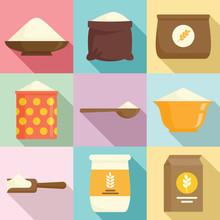 Flour Icons Set. Flat Set Of Flour Vector Icons For Web Design
