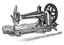 Vintage Engraving Of A Sewing Machine