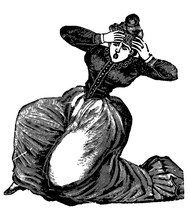 Vintage Engraving Of A Lady In...