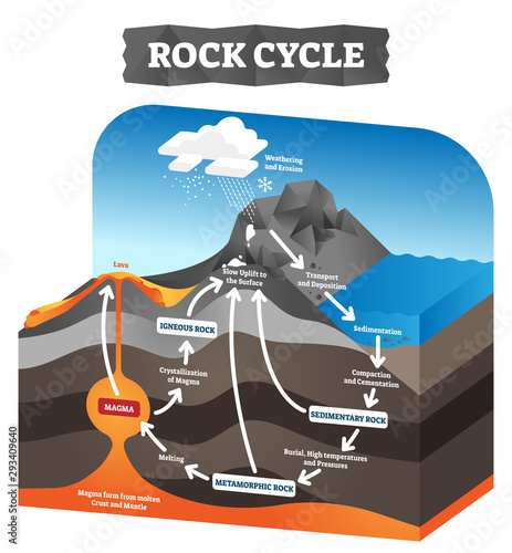 Fotografie, Obraz Rock cycle vector illustration