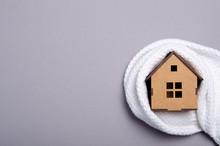 Wooden House Model Warm Heat, Top View. Heating Efficiency