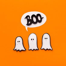 Family Of Cute Paper Ghosts Saying Boo