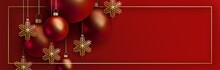 Christmas And 2020 New Year Design. 3D Red Realistic Christmas Balls And Decorative Golden Snowflakes Hang On Gold Chains On Red Background. Elegant Festive Vector Banner EPS10