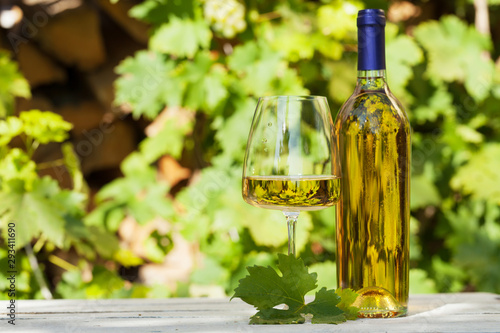 Obraz na plátně  White wine bottle and wineglass