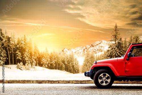Canvastavla  Red winter car and landscape of mountains