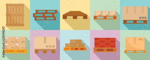 Stampa su Tela Pallet icons set. Flat set of pallet vector icons for web design