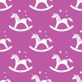 Pattern with rocking magic unicorn and bubbles.