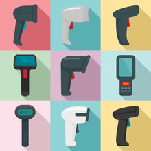 Barcode Scanner Icons Set. Flat Set Of Barcode Scanner Vector Icons For Web Design