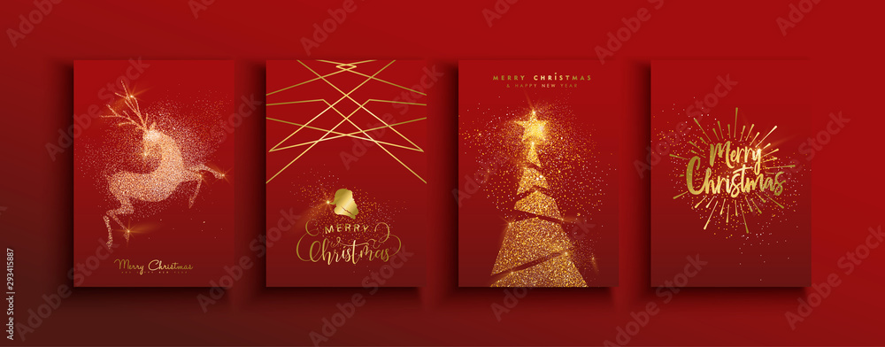 Fototapeta Christmas and new year gold glitter luxury card set