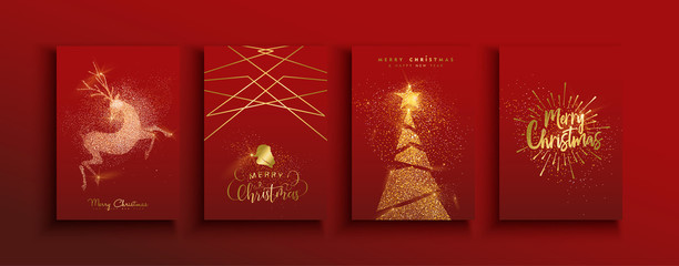 Christmas and new year gold glitter luxury card set