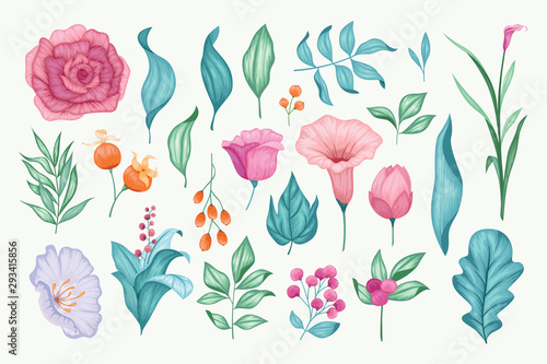 Photo Beautiful vintage hand drawn floral vector collection
