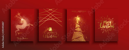 Cuadros en Lienzo Christmas and new year gold glitter luxury card set