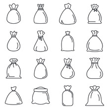Bag Icons Set. Outline Set Of Bag Vector Icons For Web Design Isolated On White Background