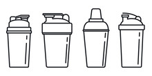 Shaker Cup Icons Set. Outline ...