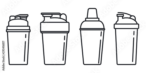 Photo Shaker cup icons set