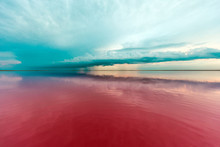 Pink Lake And Sandy Beach With...