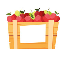 Isolated Apples Fruit Box Vector Design