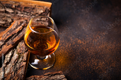 Photo Glass of cognac or whiskey.