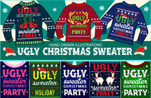 Ugly Christmas Sweater And New Year Greeting Card.
