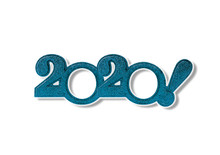2020 New Year. Numbers Two Thousand Twenty On A White Background With A Shadow.