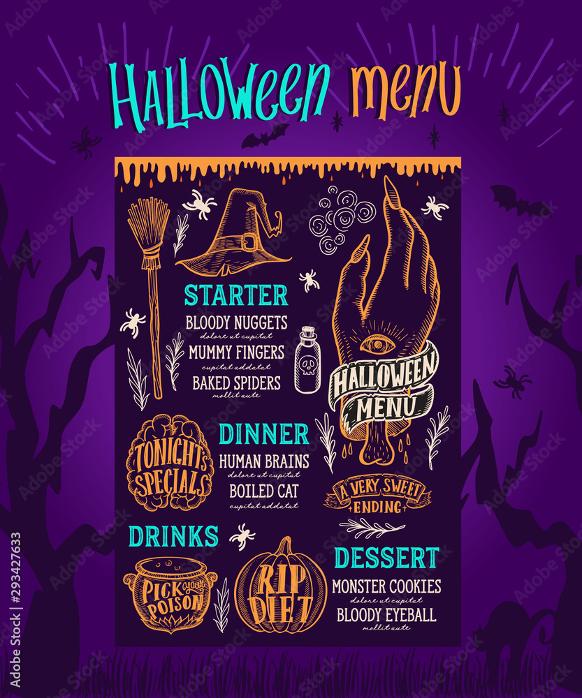 Fototapety, obrazy: Halloween food menu for scary party event