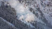 Snow Avalanche In The Austrian Alps.