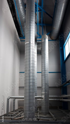 Photo Industrial pipes ventilation system. Galvanized pipes