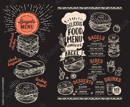 Bagel and sandwich menu for restaurant with food graphic illustrations.