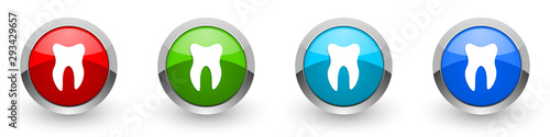Carta da parati  Tooth silver metallic glossy icons, red, set of modern design buttons for web, i