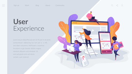 Web design, User Interface UI and User Experience UX content organization. Web design development concept.Website interface UI template. Landing web page with infographic concept creative hero header