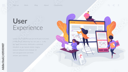 Photo Web design, User Interface UI and User Experience UX content organization