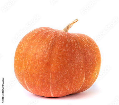 Valokuva overripe orange pumpkin isolated on white background