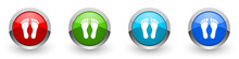 Foot Silver Metallic Glossy Icons, Red, Set Of Modern Design Buttons For Web, Internet And Mobile Applications In Four Colors Options Isolated On White Background