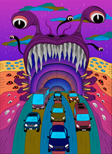 Monster Psychedelic Poster.Vector Illustration Of A Psychedelic Monster With Open Mouth From Which The Transport Leaves. Design For T-shirts, Textiles, Backgrounds, Etc.