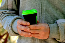 Man Holds Coffee Cup,autumn Photo