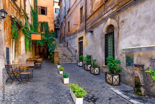 Fototapety, obrazy: View of old cozy street in Rome, Italy