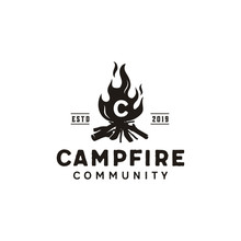 Bonfire Camp Fire Flame Vintage Retro Logo Design