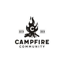 Bonfire Camp Fire Flame Vintag...