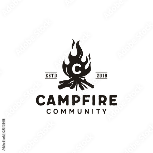 Fotografía Bonfire Camp fire flame vintage retro logo design