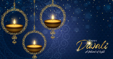 Happy Diwali Festival Banner Gold Indian Candle