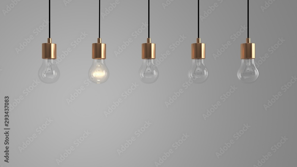 Fototapety, obrazy: Hanging Light Bulbs in front of a light grey background (3D-Illustration), one glowing bulb, Concept for Ideas, Creativity, Energy