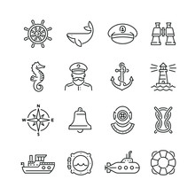 Marine Related Icons: Thin Vector Icon Set, Black And White Kit