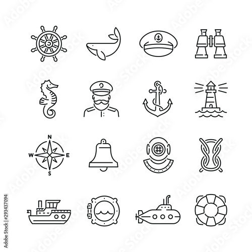 Fotomural Marine related icons: thin vector icon set, black and white kit