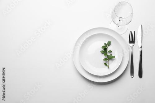 Elegant table setting on white background, top view Slika na platnu