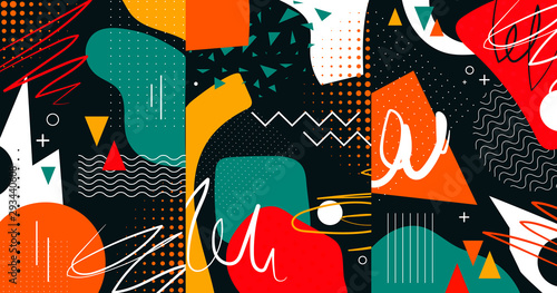 Naklejki do wnętrz  creative-doodle-art-header-with-different-shapes-and-textures-collage-vector-illustratio
